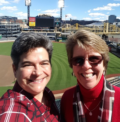 Patty Kreamer and Michelle R. Donovan speaking for financial advisor group at PNC Park