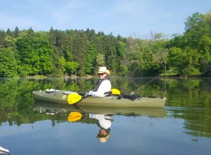 Michelle R. Donovan kayaking on Peters Lake Park