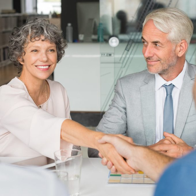 Senior businesswoman shaking hands all about the relationship
